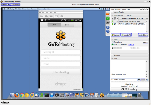 Android Screencast in Online Meeting