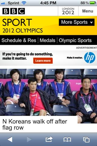 BBC Olympics Mobile Site