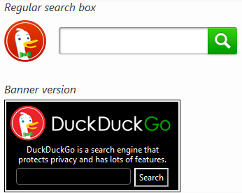 DuckDuckGo Search Box Examples