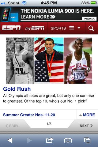 ESPN Olympics Mobile Site