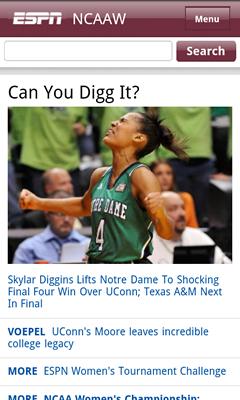 Screenshot - ESPN Mobile Sports - NCAA Women's Basektball Coverage