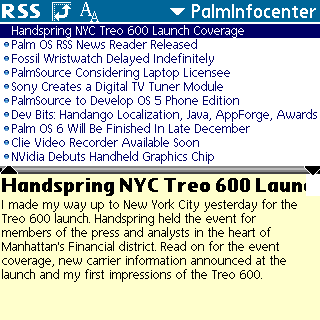 Handheld Headlines/RSS screenshot, Tungsten C, viewing PalmInfocenter's RSS feed