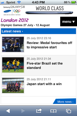 London 2012 Official Olympics Mobile Site