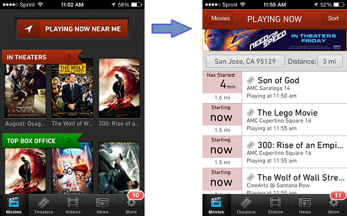 Screenshot of Moviefone mobile iPhone app