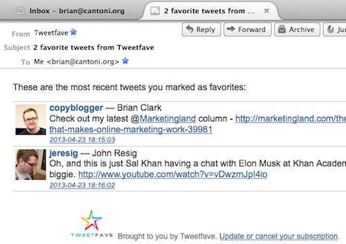 Screenshot of sample Tweetfave email