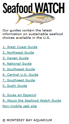 Seafood Watch Mobile Website