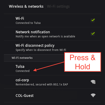 Tap and hold on your Wi-Fi connection