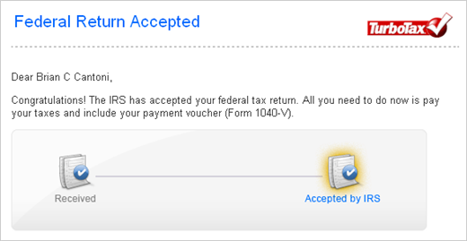 Screenshot of email confirming the IRS has accepted my federal tax return