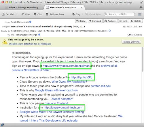 Thunderbird screenshot showing scam warning message