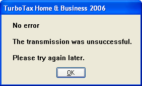 TurboTax Error Dialog