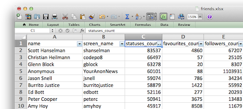 Screenshot of Twitter friends in Excel
