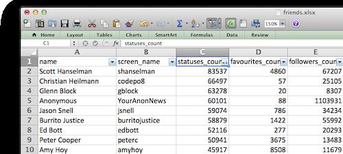 Screenshot of Twitter friends in Excel