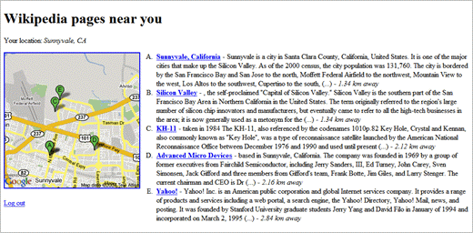 Screenshot of wikinear.com service, using Sunnyvale California as an example