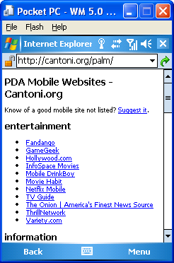 Windows Mobile 5.0 Device Emulator, showing Internet Explorer