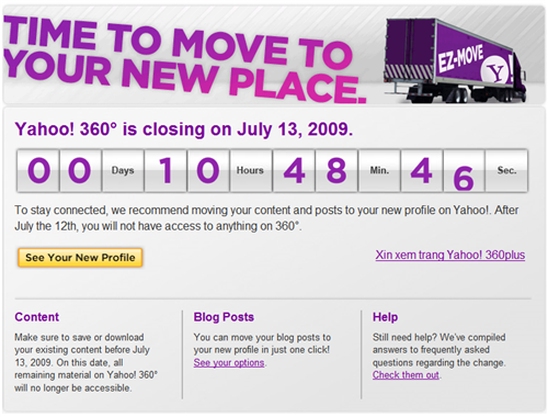Yahoo! 360 Closure Notice Screenshot
