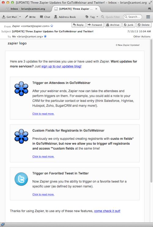 Zapier Service Email
