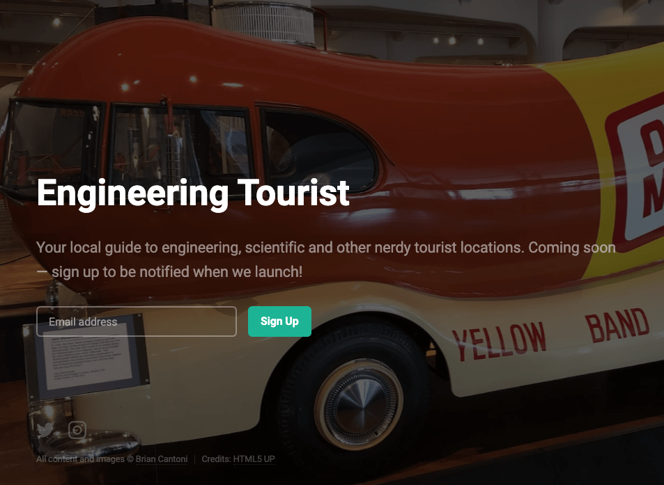 Screenshot of engineering tourist website