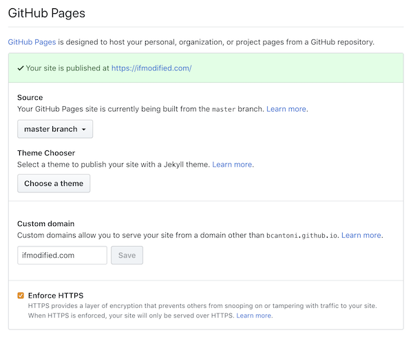 Screenshot of GitHub Pages settings