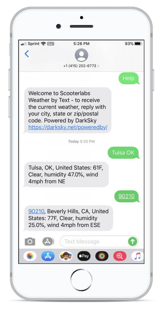 Screenshot of iPhone text messages receiving weather forecasts