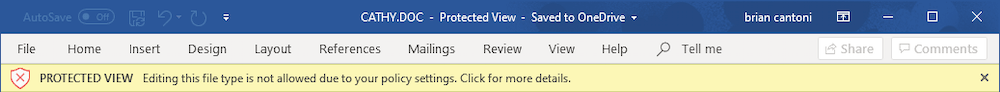 Warning dialog from Word on Mac