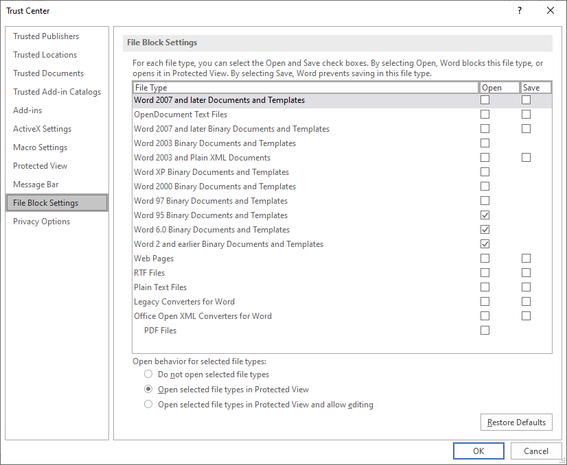 Word trust center settings dialog
