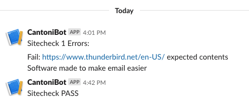 screenshot of slack notifications