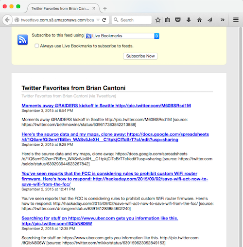 Screenshot of favorites RSS feed in Firefox