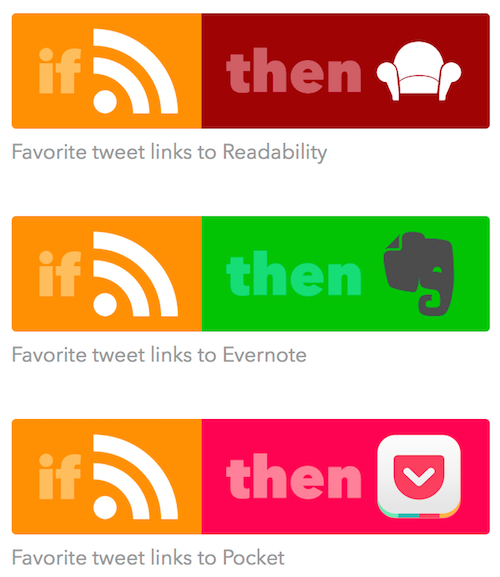 Screenshot of IFTTT example recipes